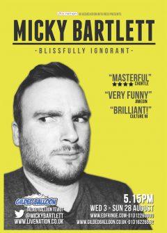 Micky Bartlett Edinburgh Fringe 2016 flyer